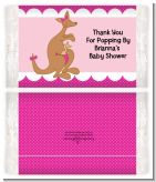 Kangaroo Pink - Personalized Popcorn Wrapper Baby Shower Favors