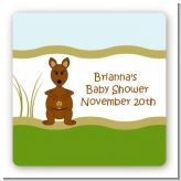 Kangaroo - Square Personalized Baby Shower Sticker Labels