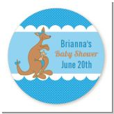 Kangaroo Blue - Round Personalized Baby Shower Sticker Labels