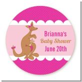 Kangaroo Pink - Round Personalized Baby Shower Sticker Labels