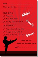 Karate Kid - Birthday Party Fill In Thank You Cards