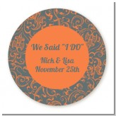 Grey & Orange - Round Personalized Bridal Shower Sticker Labels