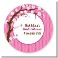 Cherry Blossom - Round Personalized Bridal Shower Sticker Labels thumbnail