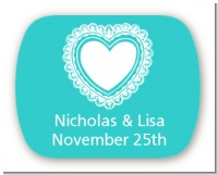 Lace of Hearts - Personalized Bridal Shower Rounded Corner Stickers