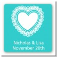 Lace of Hearts - Square Personalized Bridal Shower Sticker Labels thumbnail