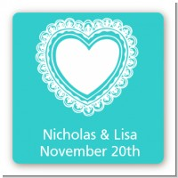 Lace of Hearts - Square Personalized Bridal Shower Sticker Labels
