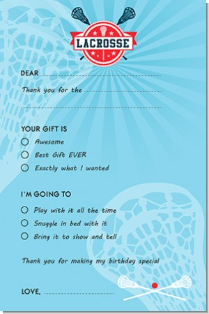 Lacrosse - Birthday Party Fill In Thank You Cards