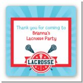 Lacrosse - Square Personalized Birthday Party Sticker Labels