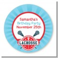 Lacrosse - Round Personalized Birthday Party Sticker Labels thumbnail