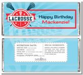 Lacrosse - Personalized Birthday Party Candy Bar Wrappers