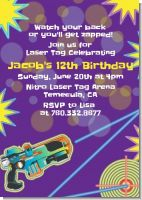 Laser Tag - Birthday Party Invitations