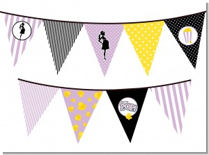 Ready To Pop Purple - Baby Shower Themed Pennant Set