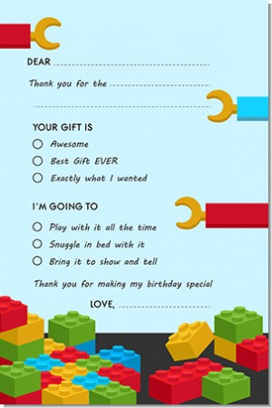 Building Blocks - Birthday Party Fill In Thank You Cards