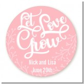 Let Love Grow - Round Personalized Bridal Shower Sticker Labels