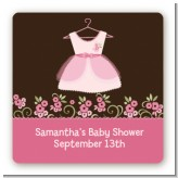 Little Girl Outfit - Square Personalized Baby Shower Sticker Labels