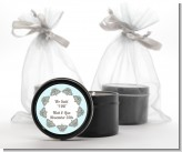 Light Blue & Grey - Bridal Shower Black Candle Tin Favors