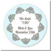 Light Blue & Grey - Round Personalized Bridal Shower Sticker Labels