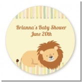 Lion - Round Personalized Baby Shower Sticker Labels