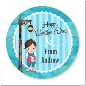 Little Boy - Round Personalized Valentines Day Sticker Labels