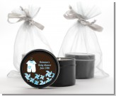 Little Boy Outfit - Baby Shower Black Candle Tin Favors