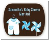Little Boy Outfit - Personalized Baby Shower Rounded Corner Stickers