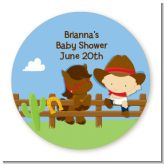 Little Cowboy - Round Personalized Baby Shower Sticker Labels