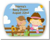 Little Cowgirl - Personalized Baby Shower Rounded Corner Stickers