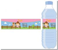 Little Cowgirl - Personalized Birthday Party Water Bottle Labels