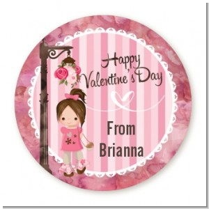 Little Girl - Round Personalized Valentines Day Sticker Labels