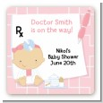 Little Girl Doctor On The Way - Square Personalized Baby Shower Sticker Labels thumbnail