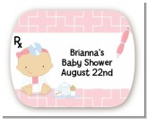 Little Girl Doctor On The Way - Personalized Baby Shower Rounded Corner Stickers