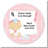 Little Girl Doctor On The Way - Round Personalized Baby Shower Sticker Labels