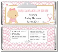 Little Girl Nurse On The Way - Personalized Baby Shower Candy Bar Wrappers