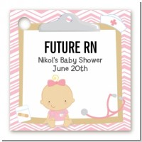 Little Girl Nurse On The Way - Personalized Baby Shower Card Stock Favor Tags
