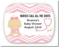 Little Girl Nurse On The Way - Personalized Baby Shower Rounded Corner Stickers