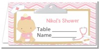 Little Girl Nurse On The Way - Personalized Baby Shower Place Cards