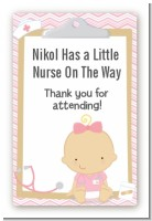 Little Girl Nurse On The Way - Custom Large Rectangle Baby Shower Sticker/Labels