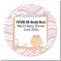 Little Girl Nurse On The Way - Round Personalized Baby Shower Sticker Labels