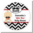 Little Man Mustache Black/Grey - Round Personalized Baby Shower Sticker Labels thumbnail