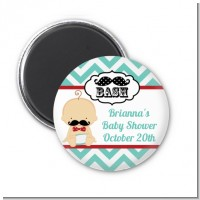 Little Man Mustache - Personalized Baby Shower Magnet Favors
