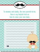 Little Man Mustache - Baby Shower Notes of Advice