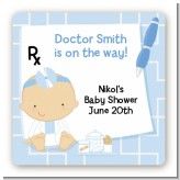 Little Doctor On The Way - Square Personalized Baby Shower Sticker Labels