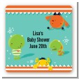 Little Monster - Square Personalized Baby Shower Sticker Labels thumbnail