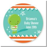 Little Monster - Round Personalized Baby Shower Sticker Labels