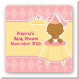 Little Princess African American - Square Personalized Baby Shower Sticker Labels