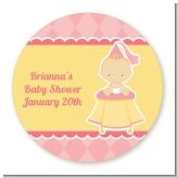 Little Princess - Round Personalized Baby Shower Sticker Labels