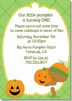 Little Pumpkin African American - Birthday Party Invitations