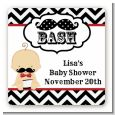 Little Man Mustache Black/Grey - Square Personalized Baby Shower Sticker Labels thumbnail