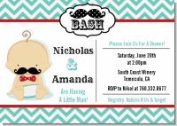 Little Man Mustache - Baby Shower Invitations