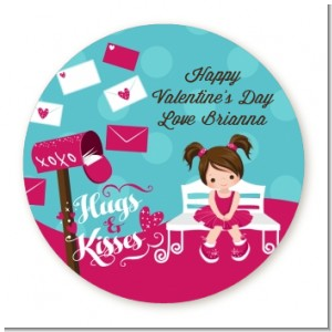 Love Letters - Round Personalized Valentines Day Sticker Labels